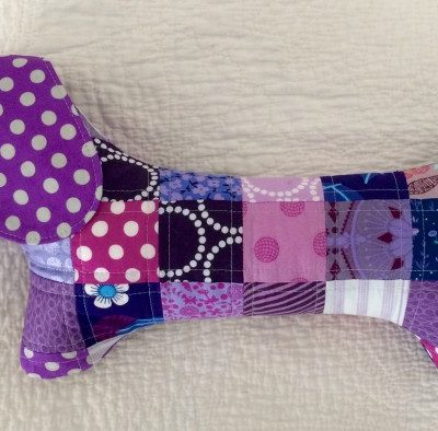 A Purple Patchwork Dachshund named Violet