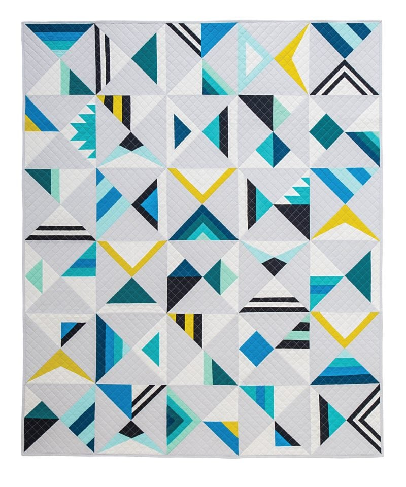 Wake modern triangle quilts for Modern house quilt block