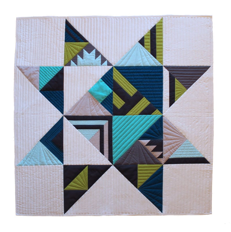 Bright free quilt pattern for Modern house quilt pattern