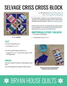 Criss Cross Selvage Quilt Block Tutorial, by Bryan House Quilts