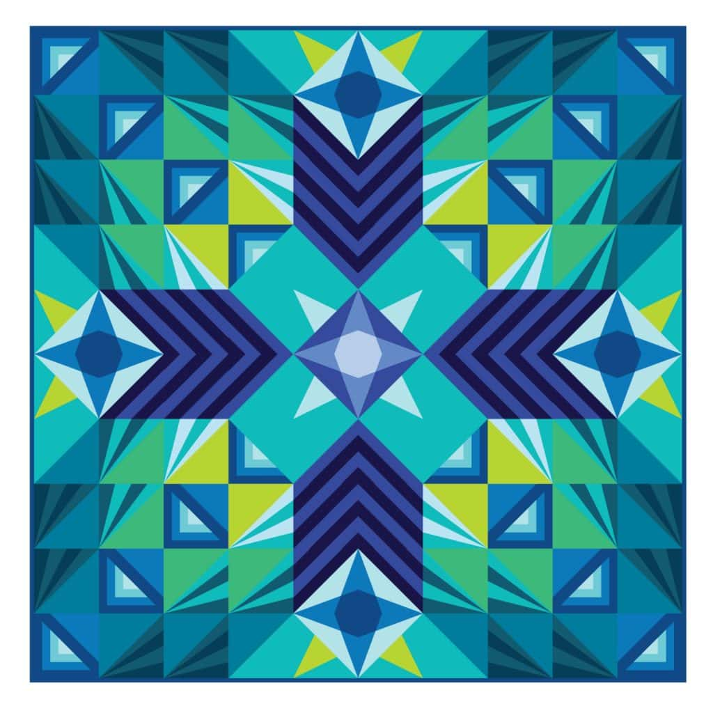 Stargazer Quilt BOM Pattern, Modern Triangle Quilts, by Rebecca Bryan