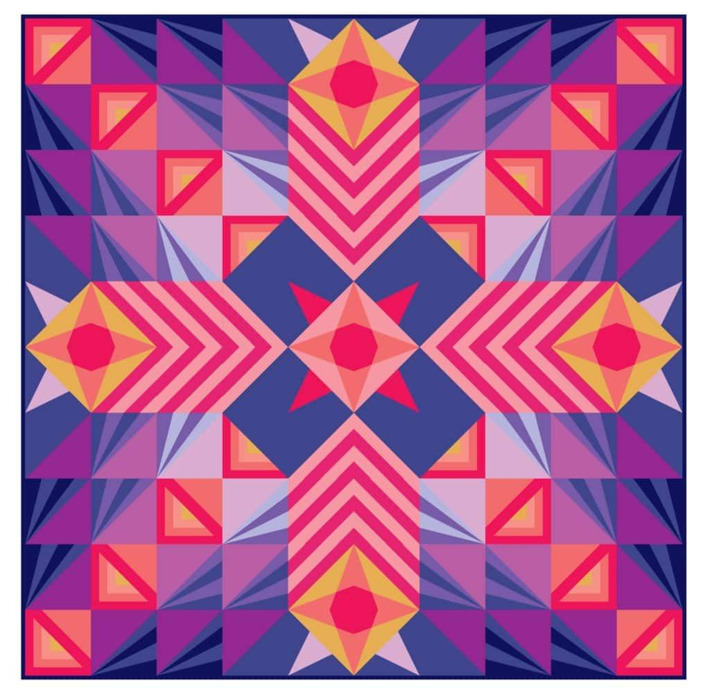 Stargazer BOM Quilt Pattern, Modern Triangle Quilts, Rebecca Bryan