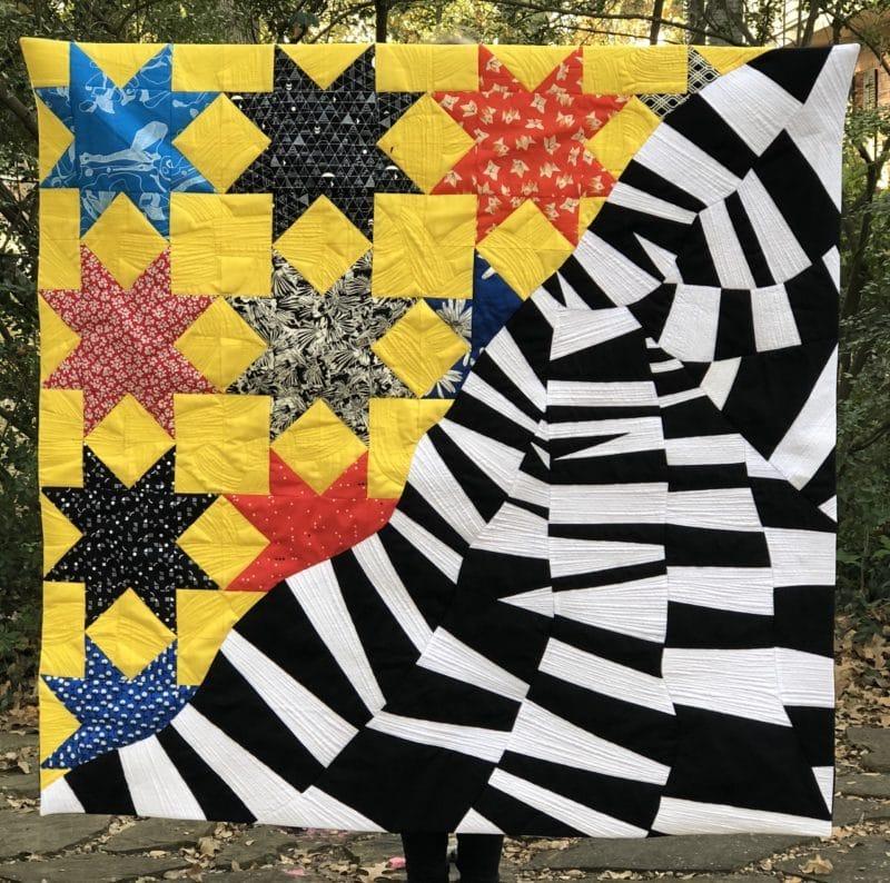 Sunshine, traditional and improvisational pieced quilt, Rebecca Bryan